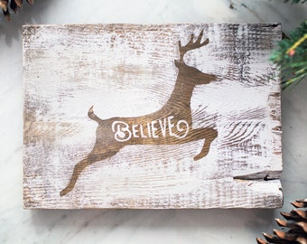 Painted Christmas Sign - Believe