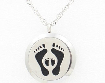 Essential Oil Diffuser Necklace- footprints