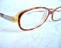 Ralph Lauren Faux Tortoise Eyeglasses 4FS Italy Rectangular Horn Rim Small 49-15 womens girl glasses frames RX sunglasses Silver Logo