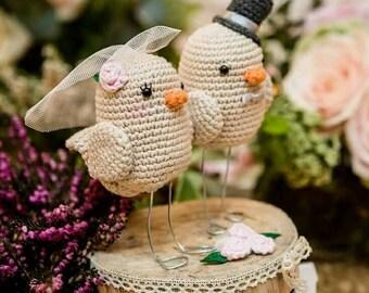 Bride and groom birds wedding amigurumi