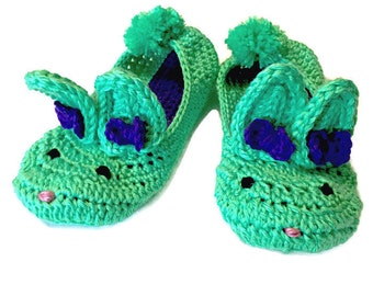 Custom Crochet Bunny Slippers - Any Color - Design Your Own