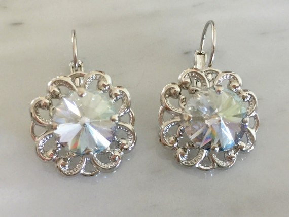 Swarovski Crystal Blue Shade Leverback Earrings