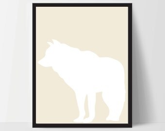 Animal Wolf Wall Art, Unframed, Artwork, Home Decor, Modern Contemporary, Print Art, Boho, Nursery, Baby, Yellow, 12x16 Inches