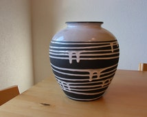 Schlossberg West Germany Black and Cream Roulette Vase ca 1950