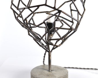 Heart Shaped Steel Geodesic Lamp with cloth cord