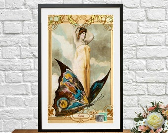 Fantasy French Postcard Butterfly Ephemera  Photograph Instant Download Art Nouveau Woman Altered Art Image Vintage Printable Digital
