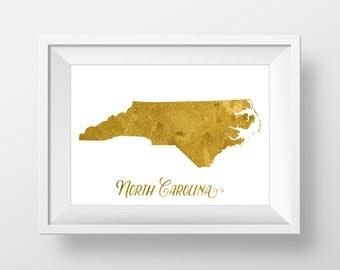 North Carolina map - USA  Printable art , Instant download