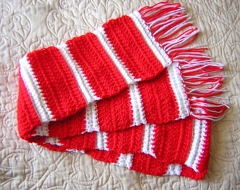 Red and White Crochet Scarf - Winter Scarf, Crocheted Scarf, Bright Scarf - READY TO SHIP