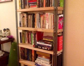 Industrial Iron and Wood Bookshelf - Custom Built