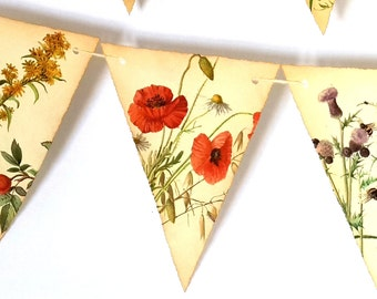 Double sided Rustic Flower Bunting- Floral Bunting- Flower Garland-Summer Wedding Bunting- Floral Garland- Floral Wedding Decor / Garland
