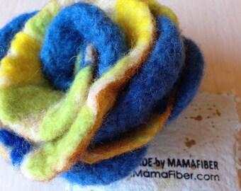 Woollen felted rose brooch - a flower pin in blue-yellow-green