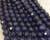 "12mm Sparkling Dark Blue Goldstone Faceted Round/Ball Shaped Beads with 2.5mm Holes - 7.75"" Strand (Approx. 18 Beads) - LARGE HOLE BEADS"