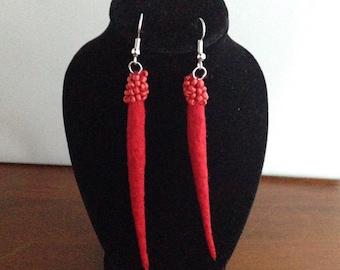 Red beaded ,felted earrings , wool jewelry, felt earrings , wool , gift for her, hand made felt earrings , statement earrings, red earrings