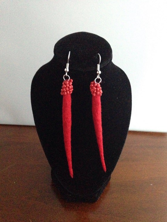 Red beaded felted earrings , Red wool , felt earrings , Unique wool earrings , gift for her - Statement jewellery - felt earrings - earrings