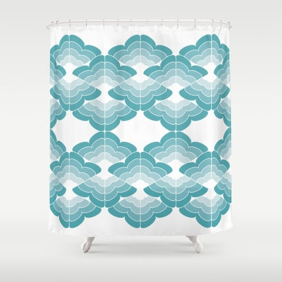 Items Similar To Shower Curtain Bath Curtains Blue Green Pink Orange Turquoise Cloud
