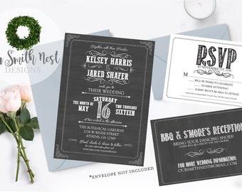 Chalkboard Wedding Suite DIY PRINTABLE Customizable Digital Prints Chalkboard Vintage Rustic