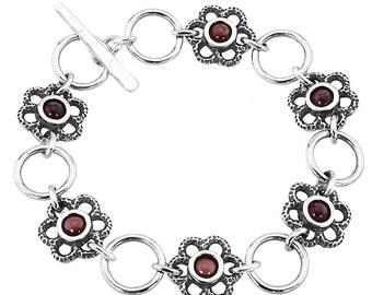 Garnet bracelet - Silver Garnet Bracelet - SIlver bracelet - red garnet almandine bracelet