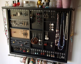 Jewelry organizer. Large earrings display with shelf. BLACK jewelry storage. Wooden wall mount earring holder. earrings storage.