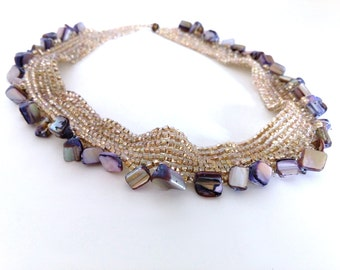 Iridescent Translucent Pearly Beaded Choker Necklace with Light Purple Mother of Pearl Handmade Jewelry