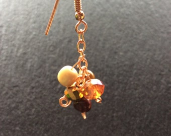 Fire Agate Rose Gold Plated Cluster Earrings Gift boxed