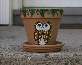 Fall Owl (Hand Painted Pot)