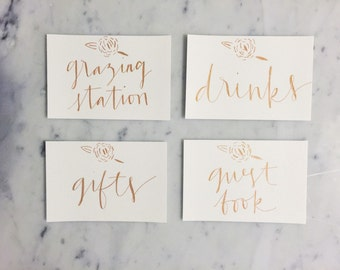Custom 6 x 4 inch Hand Drawn Metallic Rose Gold Lettering Sign / GARDEN LOVE / Cards Gifts Sign / Calligraphy/ Party Wedding Birthday Bridal