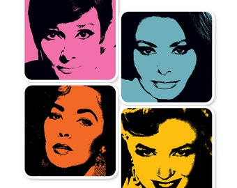 Female Movie Stars Coasters (Set of 4)