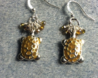 Amber enamel turtle charm earrings adorned with tiny amber Chinese crystal beads.