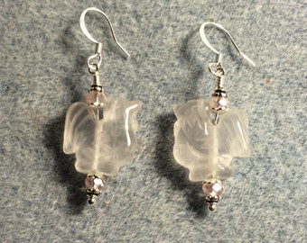 Rose quartz  gemstone rooster bead earrings adorned with pink Chinese crystal beads.