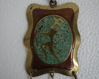 """80's pendant, brass with crushed torquoise, trying to be a belt buckle? dimension 2.75"""" in length"""