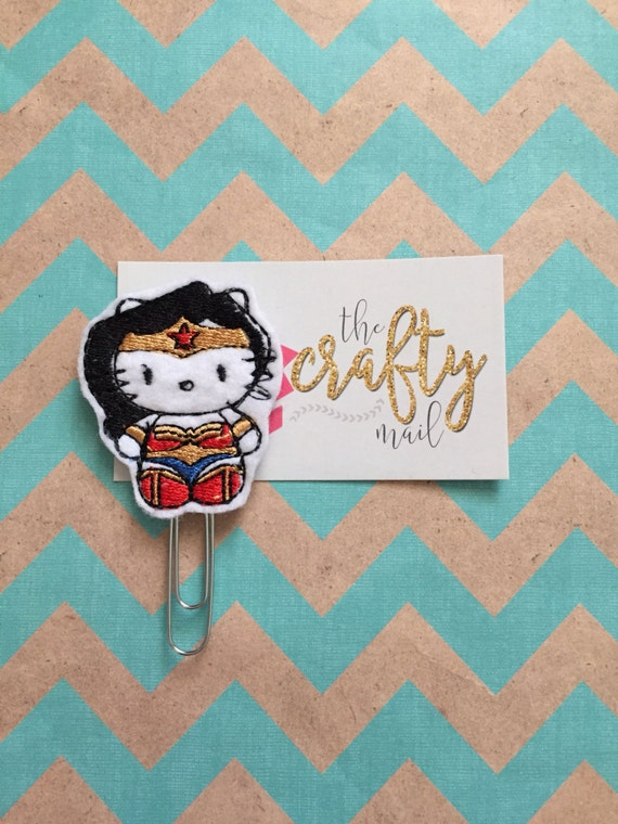 Wonder Kitty/Cat Planner Clip/Paper Clip/Feltie Clip. Hero planner clip. Wonder Woman planner clip. Character planner clip