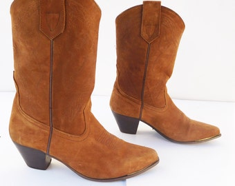 Oak Tree Farms Brown suede cowboy western boots size 8.5