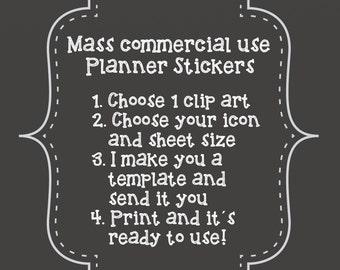 Custom Planner Sticker Mass Commercial use Digital Printable PDF JPG