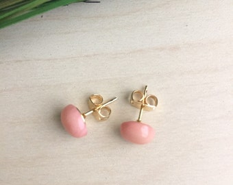 Pink Coral Earrings on Gold Plated or Surgical Steel Posts Hypoallergenic Gemstone Studs Minimal post earring Gift under 20 Best Friend Gift