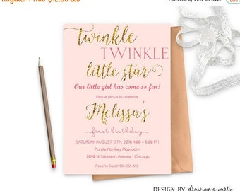 ON SALE Twinkle Twinkle Little Star First Birthday , Pink And Gold First Birthday Invitation , Girl First Birthday Invitation , Printable