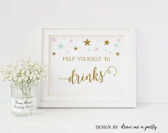 Twinkle Twinkle Little Star Drink Table Sign , Baby Shower Mint Gold Pink Birthday Party Table Sign , Mint Gold Printable , Download