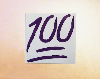 100 Emoji Decal, Keeping it 100, Car decal, laptop decal, window decal, emoji sticker