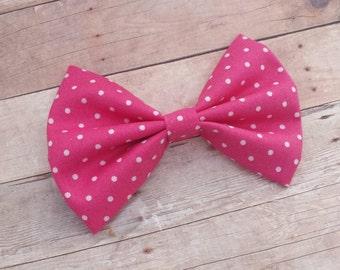 Hot Pink Polka Dot Hair Bow Clip or Headband / Polka Dot Hair Bow / Hot Pink Hair Bow / Pink Polka Dot Bow Clip / Pink & White Bow Headband