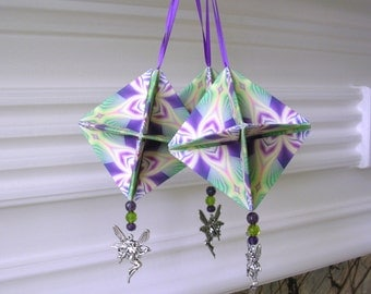 Purple Green Yellow Origami Decorations - Fairy Christmas Ornaments  - Paper Christmas Decorations -  Unique Ornaments