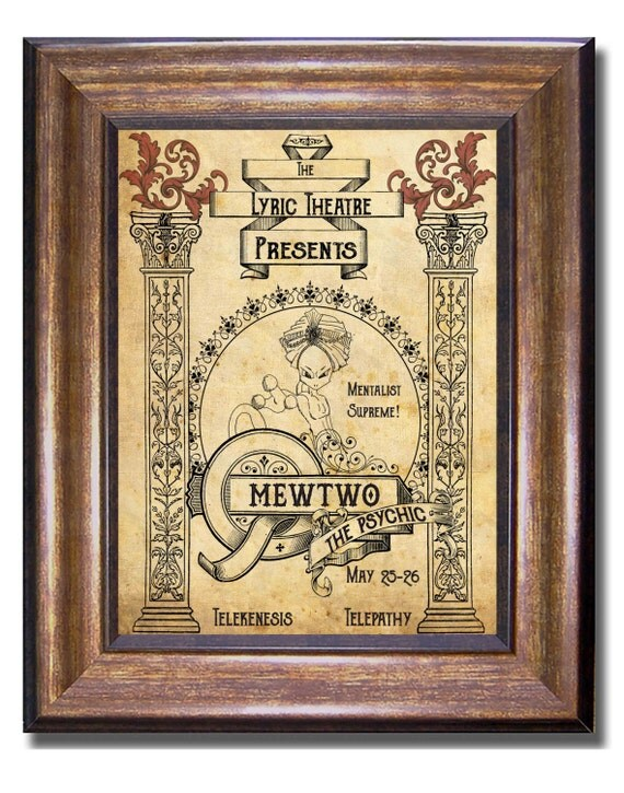 Mewtwo Psychic Show Vintage Style Pokemon Print Available