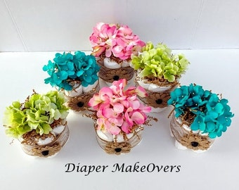 Table Centerpiece Ideas For Baby Shower baby shower centerpiece ideas Baby Shower Table Centerpiece Shower Decorations Rustic Burlap Lace Diaper Cake Spring Flowers