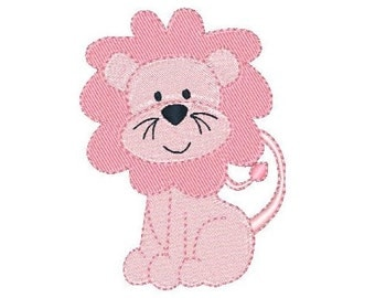 Cute Lion Machine Embroidery Design, Baby Lion Fill Stitch Machine Embroidery Design, Lion Cub, 4x4, INSTANT DOWNLOAD, no: JG00041-4