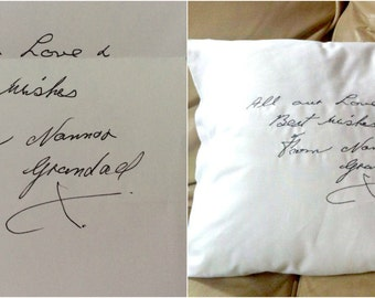Loved Ones Handwriting Embroidered into stitches - Cushion Cover - Keepsake