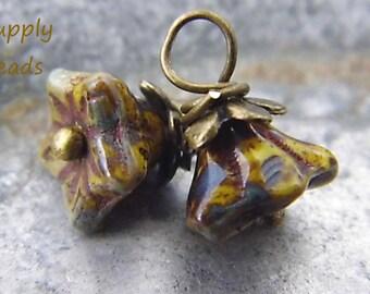 Winter Flower Charms, Czech Flower Beads, Charms
