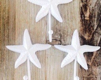 Star Fish Hook Coat Hook Nautical Decor Beach Decor Cast Iron Coat Hook Nursery Hook Shabby Chic Hook White Star Fish Hook