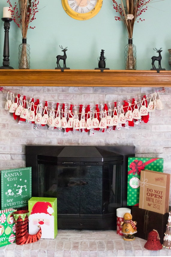 Advent Calendar Bags Christmas Decor Hanging Decoration Countdown Seasonal Festive