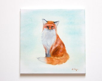 Children's Illustration Original Oil Painting Art 12'' x 12'' on Canvas, Suitable for Children's Room, 'Crafty Fox'