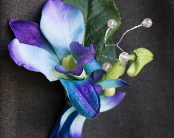 Orchid boutonniere ~ Galaxy orchid ~ Blue wedding ~ Blue orchid boutonniere ~ Picasso orchid ~ Winter wedding ~ Purple wedding boutonniere
