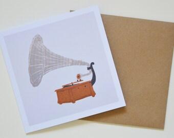 Gramophone Greetings Card