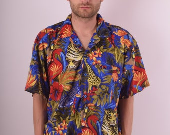 Vintage Shirt Tropical Print Made in India (588)